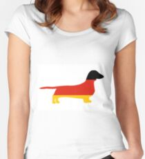dachshund flag silhouette Women's Fitted Scoop T-Shirt