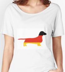 dachshund flag silhouette Women's Relaxed Fit T-Shirt
