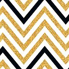 MODERN CHEVRON PATTERN bold black + gold glitter white by Kat Massard