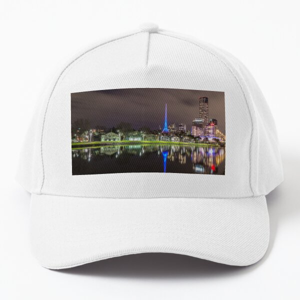 View of the Melbourne Rowing Sheds at night Baseball Cap