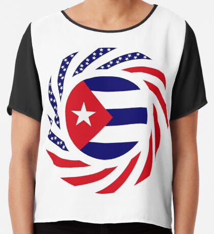 Cuban American Multinational Patriot Flag Series Chiffon Top