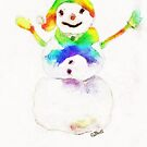 Snowman with Rainbow 1 by Claire Bull