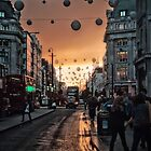 Oxford Street At Twilight With Christmas Lights Greeting Card by AntSmith