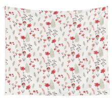 Red Vintage Floral Pattern Wall Tapestry
