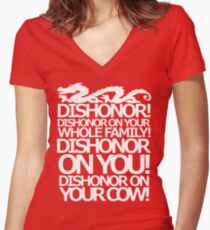 Dishonor on your cow. [US Spelling]  Women's Fitted V-Neck T-Shirt
