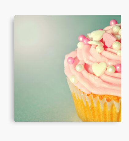 Pink Cupcakes with Lovehearts Canvas Print