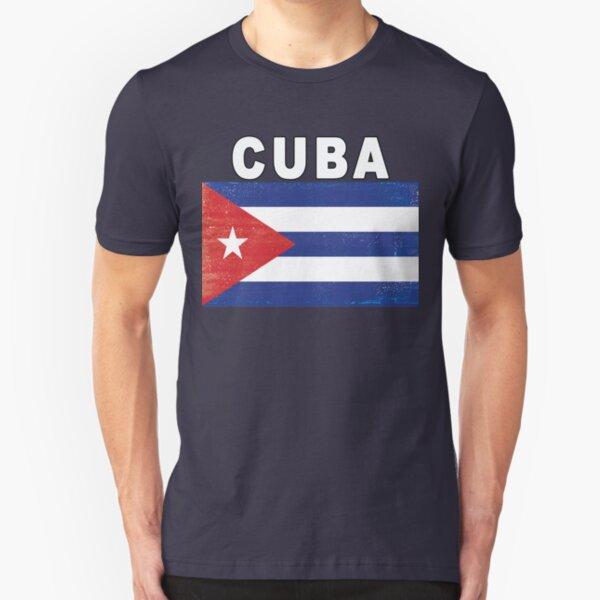 Distressed Cuba Flag HQ Design Slim Fit T-Shirt