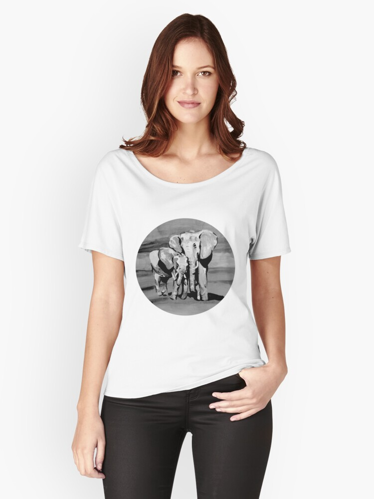 Black and white mother and baby elephant Women's Relaxed Fit T-Shirt Front