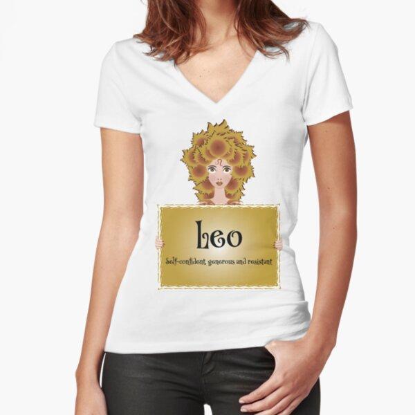 Leo woman Fitted V-Neck T-Shirt