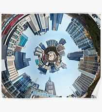 Distorted 3d Cityscape Planet Inside Tunnel Poster