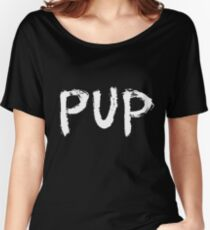 PUP Graffiti Logo White Women's Relaxed Fit T-Shirt