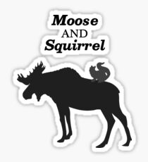 Supernatural Moose and Squirrel - Black and White Sticker