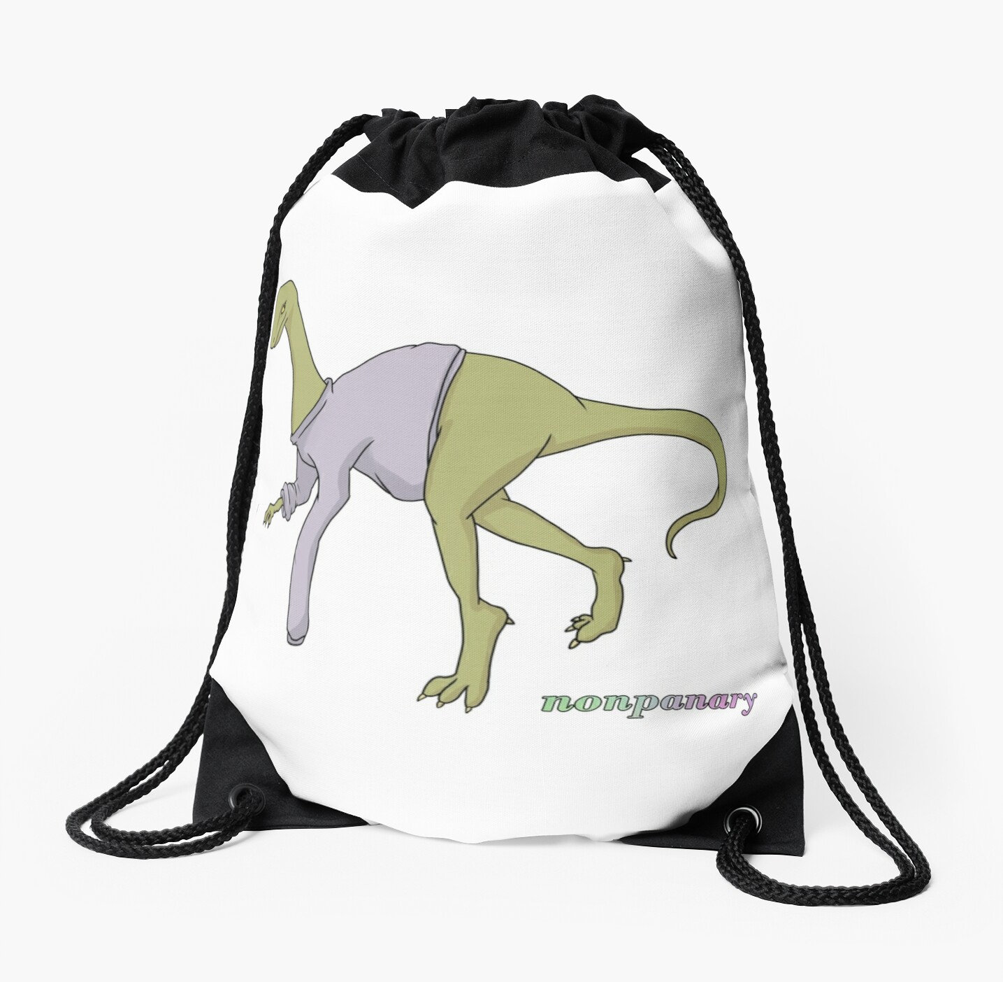 Cute Pastel Dinosaur In Sweater Drawstring Bags By Nonpanary