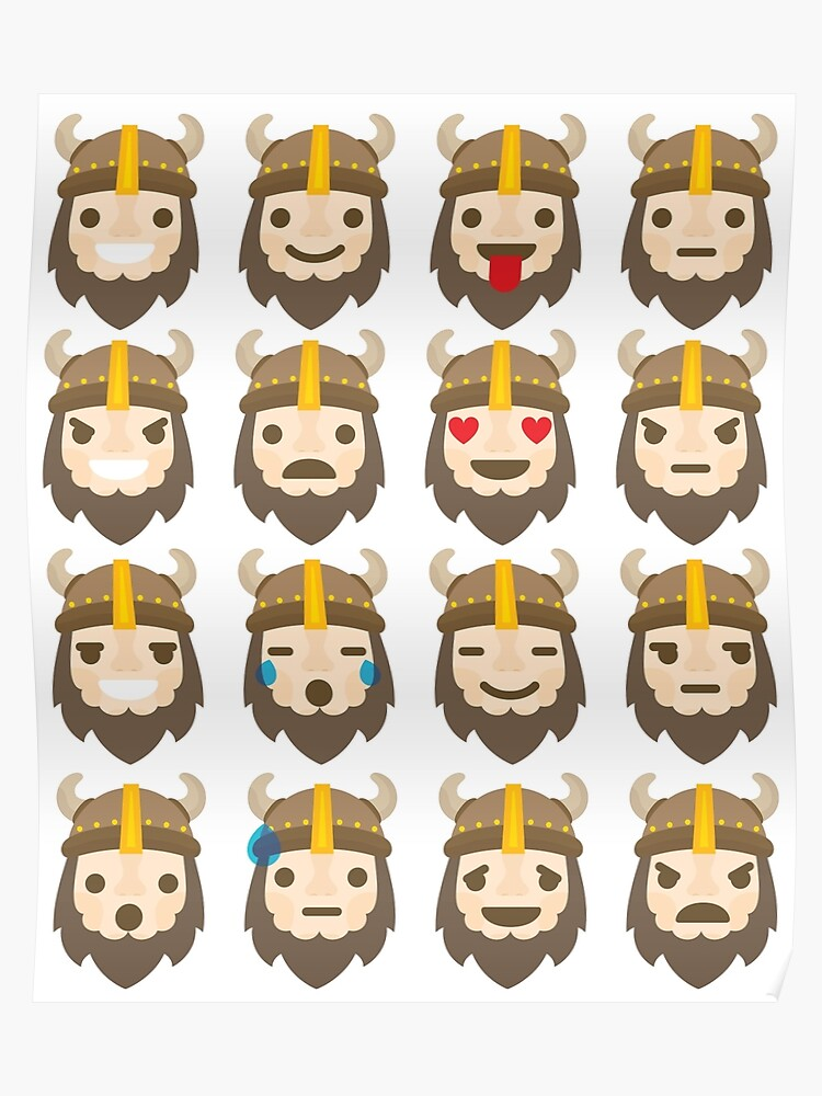 Warrior Viking Emoji 16 Different Facial Expressions | Poster