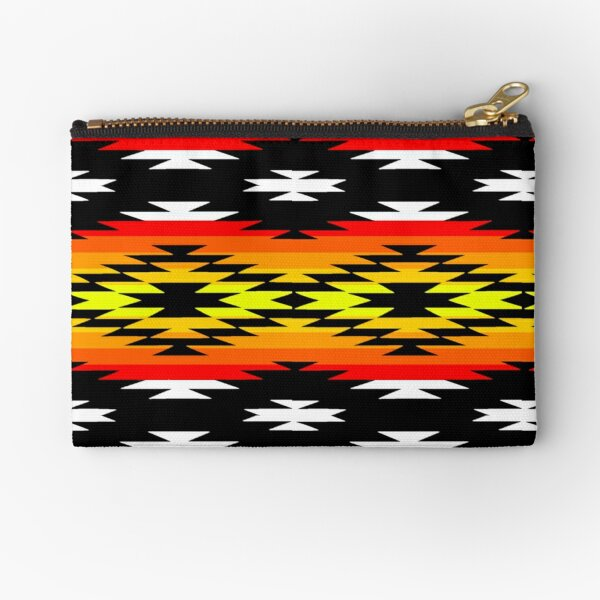 White / Fire Geometric Native American Art Print  Zipper Pouch