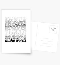 make words (writers) Postcards