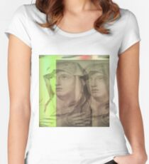 Virgin Mary Glitch Art Women's Fitted Scoop T-Shirt