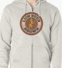 Lion Brown Beer Coaster Zipped Hoodie