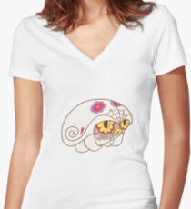 Kabuto Popmuerto | Pokemon & Day of The Dead Mashup Women's Fitted V-Neck T-Shirt