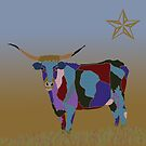 Colorful Texas Longhorn Cow by kreativekate