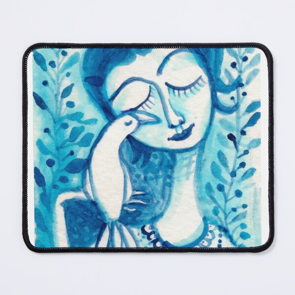 Way To Blue, Bird Woman, Girl Pets, Floral Foliage Meloearth Mouse Pad