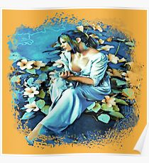 GIRL AND FLOWERS 7D-ST Poster