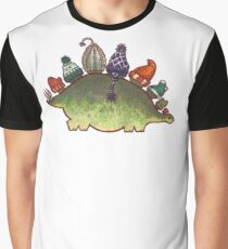 Green Stegosaurus Derposaur with Hats Graphic T-Shirt