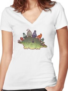 Green Stegosaurus Derposaur with Hats Women's Fitted V-Neck T-Shirt