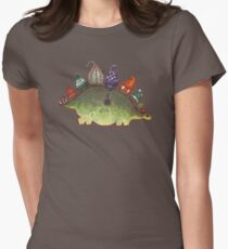 Green Stegosaurus Derposaur with Hats Womens Fitted T-Shirt