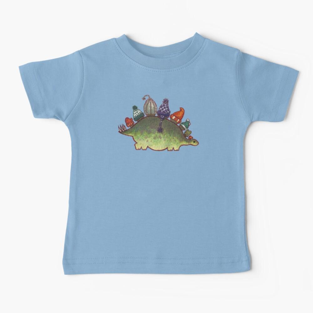 Green Stegosaurus Derposaur with Hats Baby T-Shirt