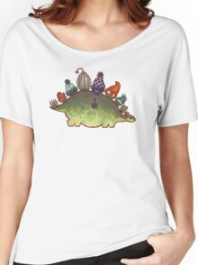 Green Stegosaurus Derposaur with Hats Women's Relaxed Fit T-Shirt