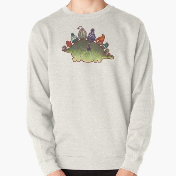 Green Stegosaurus Derposaur with Hats Pullover Sweatshirt