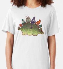 Green Stegosaurus Derposaur with Hats Slim Fit T-Shirt