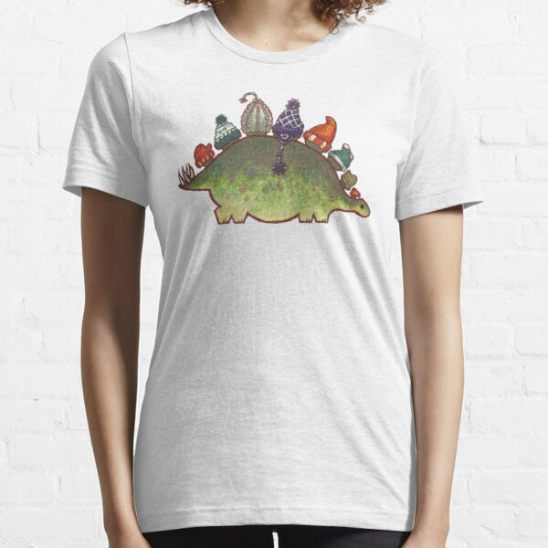 Green Stegosaurus Derposaur with Hats Essential T-Shirt