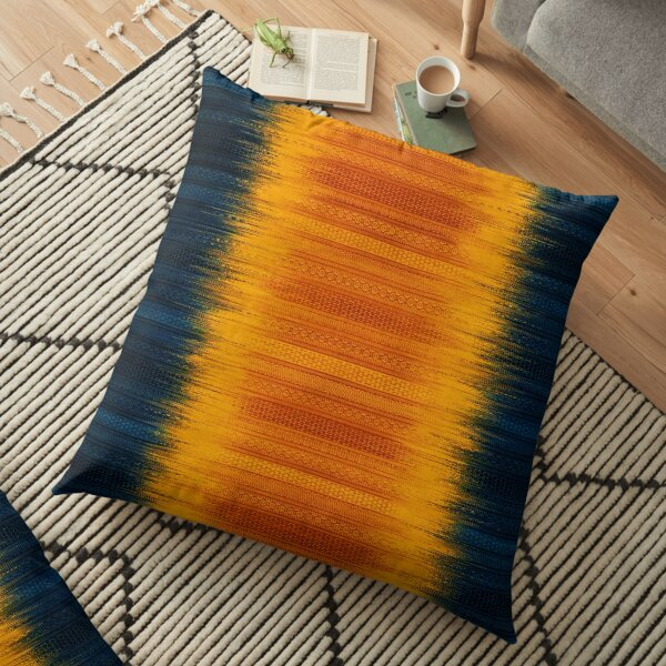 Deep Blue and Yellow Oriental Traditional Lovely Colored Moroccan Style Floor Pillow