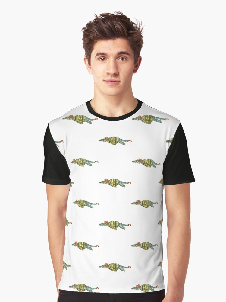 Hipster Liopleurodon Derposaur with Sweater and Ushanka by Madison Russell