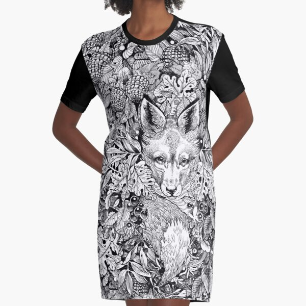 Hiding fox Graphic T-Shirt Dress
