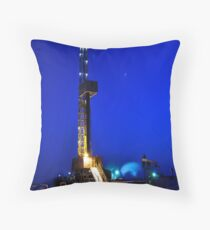 Drilling Rig at Night Throw Pillow