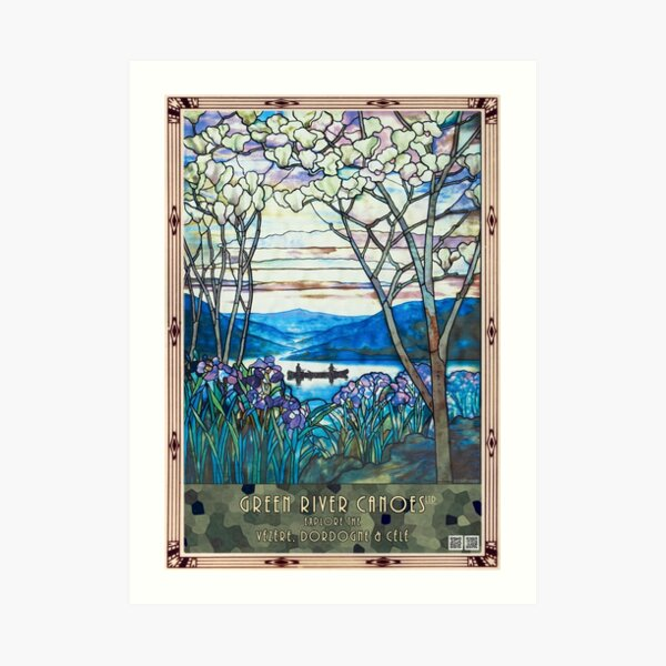 Tiffany window: canoeing, with iris and magnolia Art Print