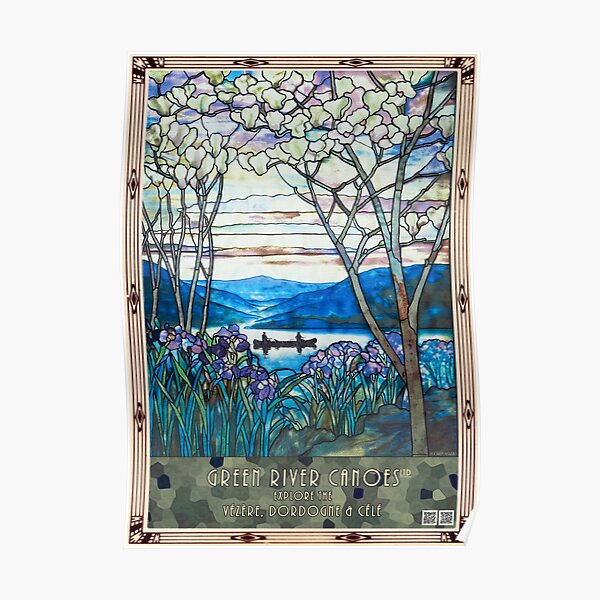 Tiffany window: canoeing, with iris and magnolia Poster