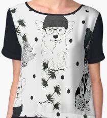 Pattern animal black Women's Chiffon Top