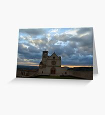Photography of famous Basilica of St. Francis of Assisi (Basilica Papale di San Francesco) at sunset in Assisi, Umbria, Italy Greeting Card