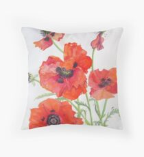 Poppies by Janet Mileham White Throw Pillow