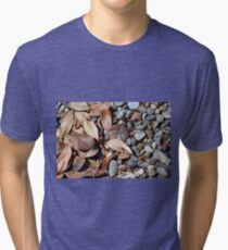 Dry leaves on the ground on pebbles Tri-blend T-Shirt