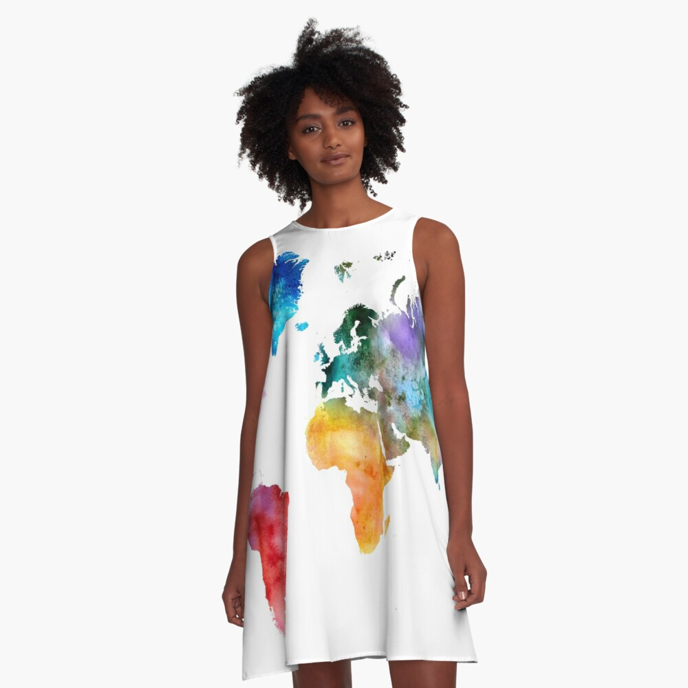 Colorful watercolor map of the world with watercolor A-Line Dress