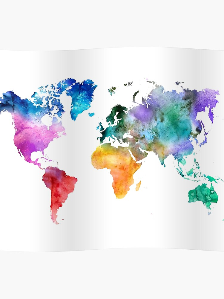 Colorful watercolor map of the world with watercolor\