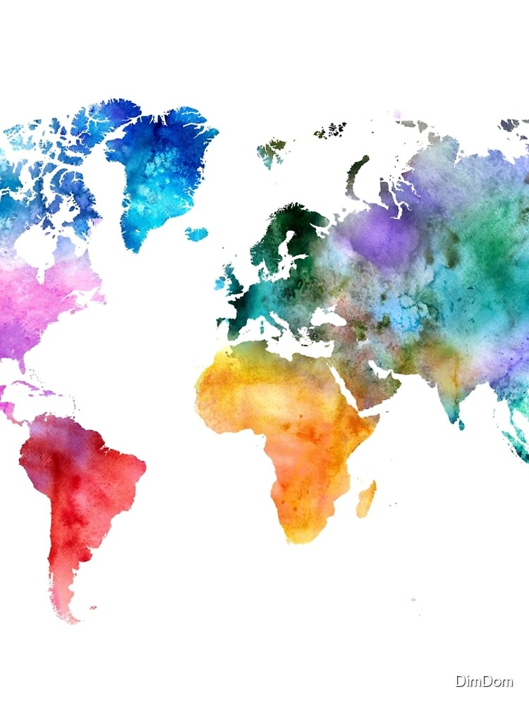 Colorful watercolor map of the world with watercolor by DimDom