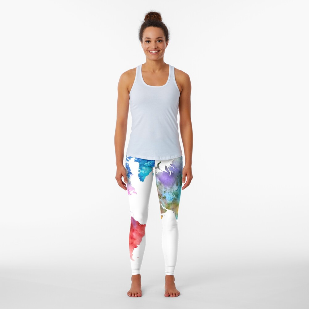 Colorful watercolor map of the world with watercolor Leggings