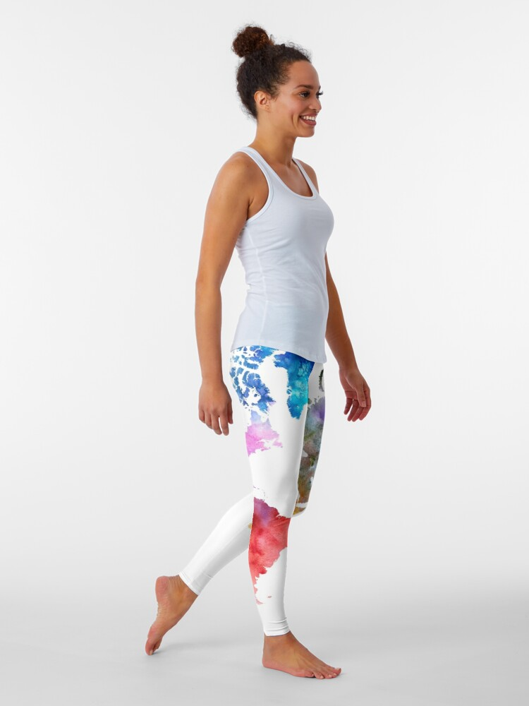Alternate view of Colorful watercolor map of the world with watercolor Leggings