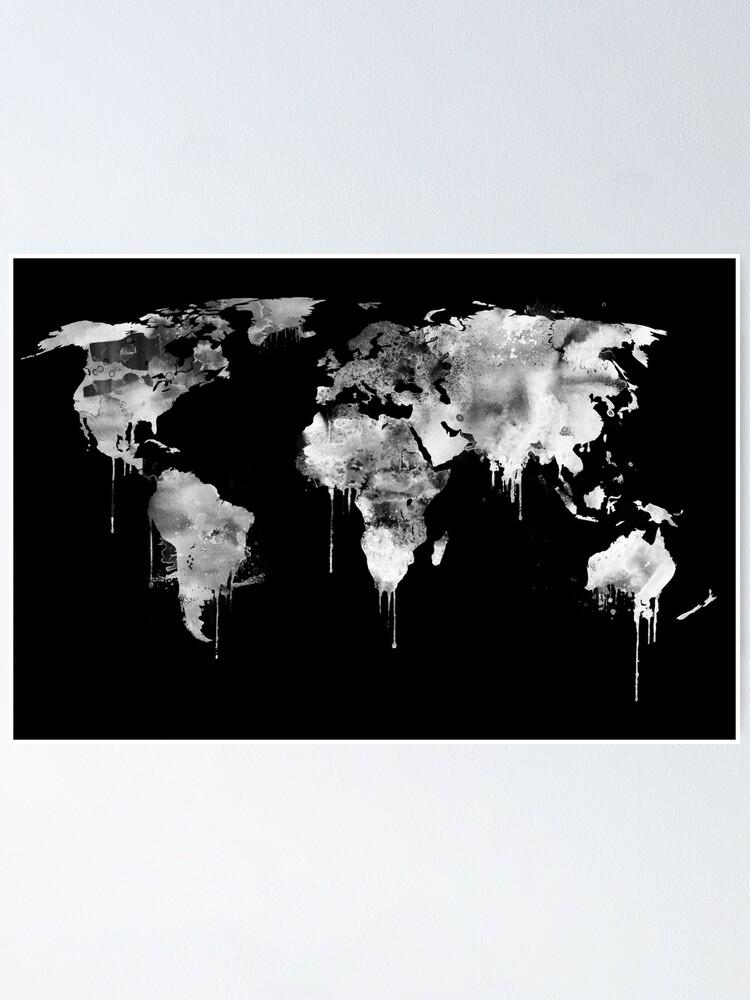 Poster Carte Du Monde Negatif Noir Et Blanc Par Dimdom Redbubble